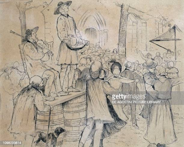 Dancing in the square of a village in the Berry region drawing France 19th century