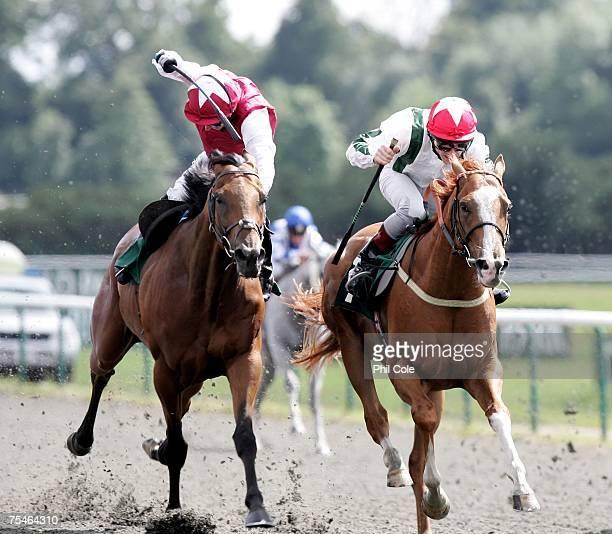 Dancing Jest ridden by Michael Fenton wins ahead of Bathwick Fancy ridden by David Kinsella in the EBF Paul Kelleway Memorial Maiden Stakes at...