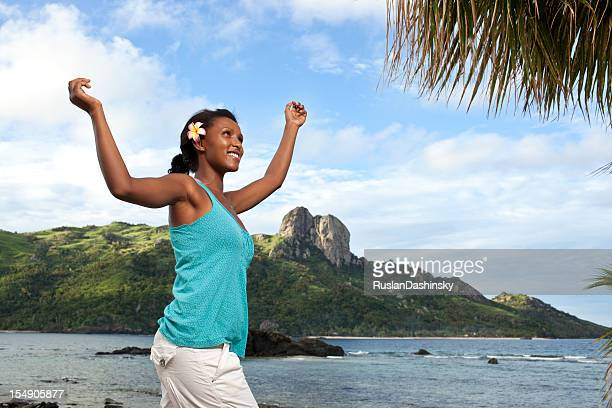 dancing on tropical island of fiji. - fiji stock pictures, royalty-free photos & images