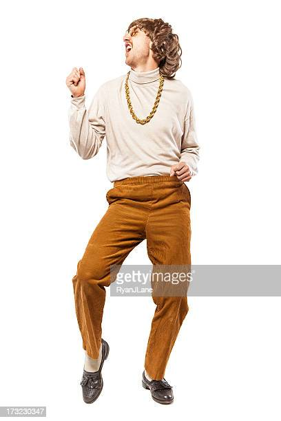 Dancing Retro Seventies Man on White