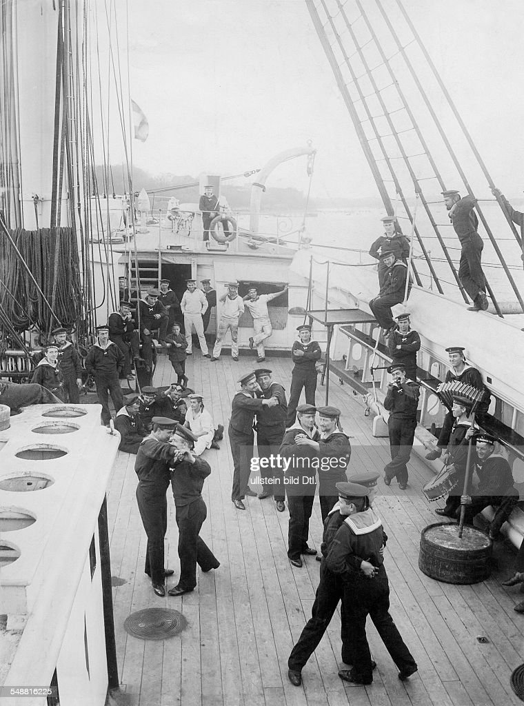 dancing sailors on the deck of the s m s friedrich carl 1899