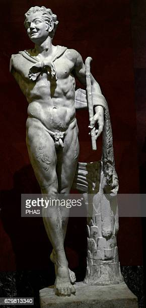 Dancing satyr woodland deity companion of the god Dionysus Roman adaptation of the bronze original by Lysipps of the late 4th century BC Marble...