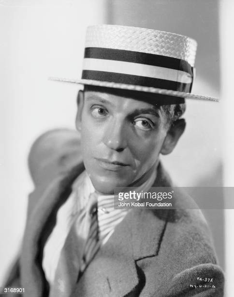 Dancing star Fred Astaire in a straw boater.