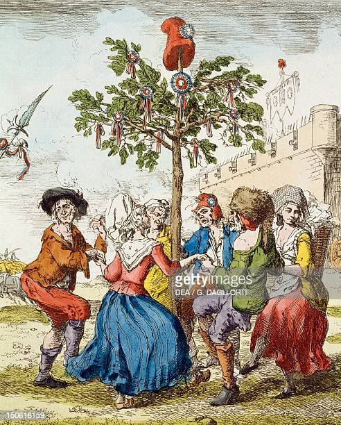 Dancing the Carmagnole around the Tree Of Liberty French Revolution France 18th century