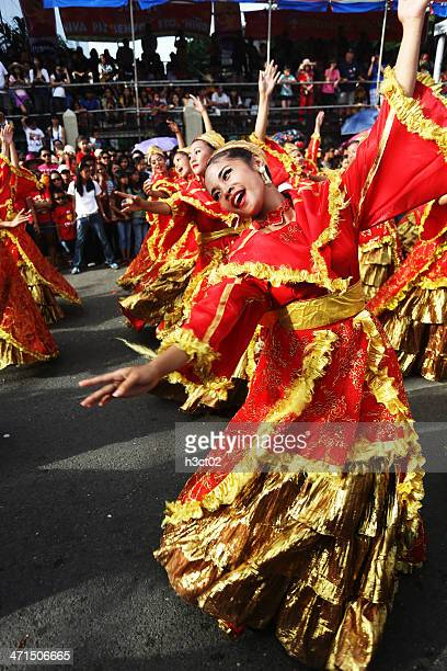 dancing the sinulog - sinulog festival stock photos and pictures