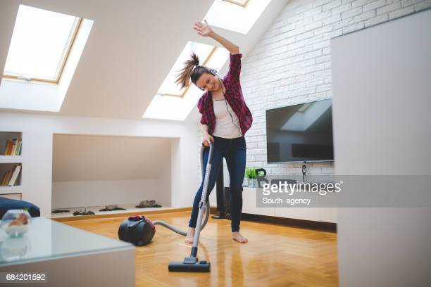 dancing through the house - tv housewife stock photos and pictures