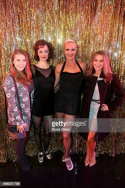 """Dancing with the Stars"""" Alexa PenaVega and Bindi Irwin pose with Charlotte Kate Fox as """"Roxie Hart"""" and Amra-Faye Wright as """"Velma Kelly"""" backstage..."""