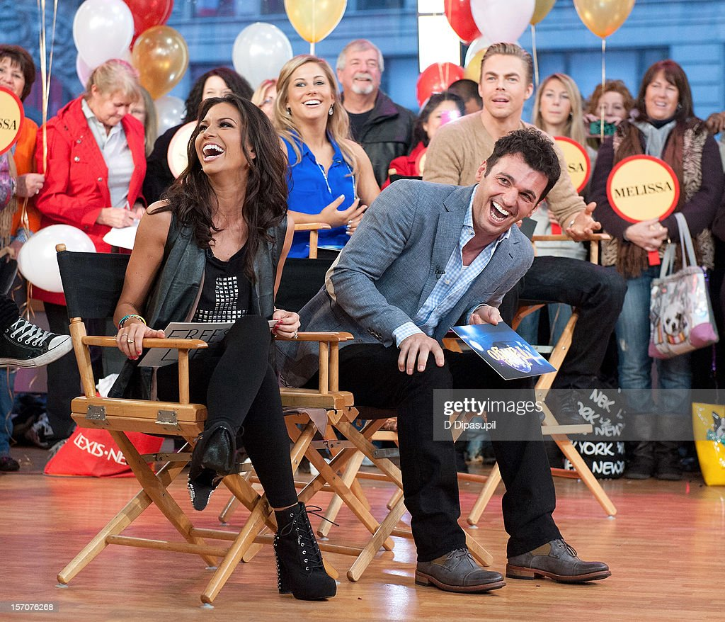 'Dancing With The Stars: All Stars' winner Melissa Rycroft, finalist Shawn Johnson, Derek Hough, and winner Tony Dovolani visit ABC's Good Morning America at ABC News' Good Morning America Times Square Studio on November 28, 2012 in New York City.