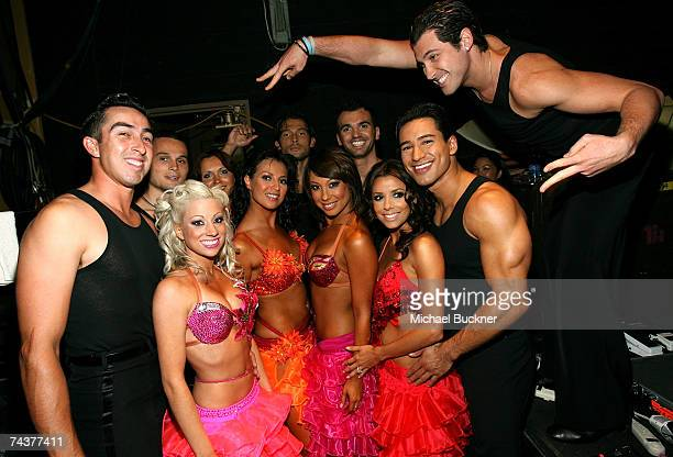 APPLIES*** Dancing With The Stars' Cheryl Burke Actress Eva Longoria Actor Mario Lopez Dancing With The Stars' Maksim Chmerkovskiy with Dancers poses...
