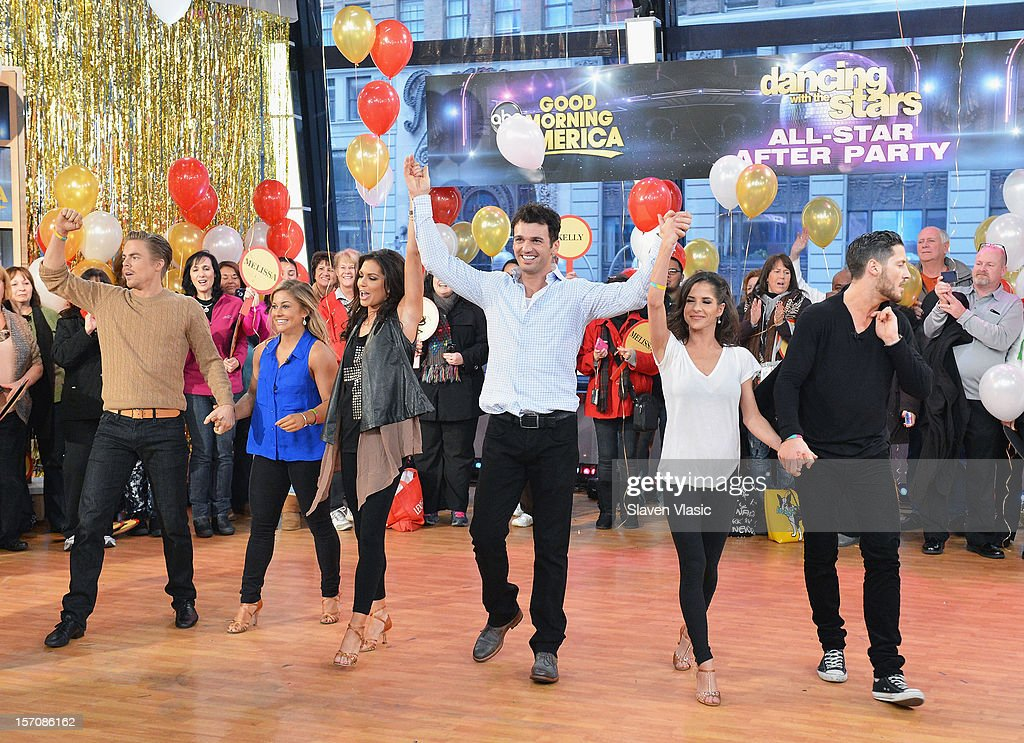 'Dancing With The Stars' finalists Derek Hough, Shawn Johnson, winners Melissa Rycroft, Tony Dovolani, finalists Kelly Monaco and Valentin Chmerkovskiy attend ABC's Good Morning America at ABC News' Good Morning America Times Square Studio on November 28, 2012 in New York City.