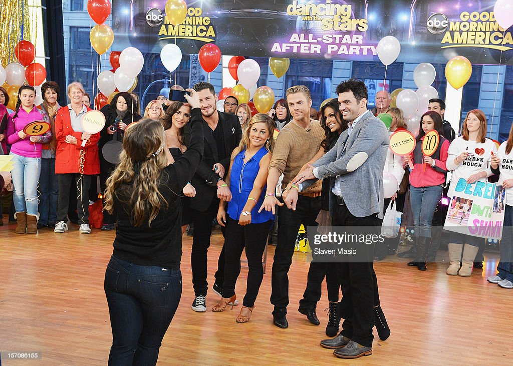 'Dancing With The Stars' finalists Kelly Monaco, Valentin Chmerkovskiy, Shawn Johnson, Derek Hough, winners Melissa Rycroft and Tony Dovolani attend ABC's Good Morning America at ABC News' Good Morning America Times Square Studio on November 28, 2012 in New York City.