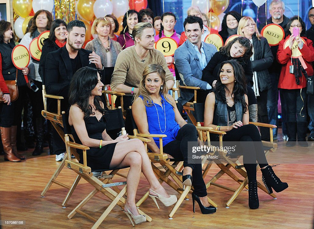 'Dancing With The Stars' finalists Valentin Chmerkovskiy, Kelly Monaco, Derek Hough, Shawn Johnson, winners Tony Dovolani and Melissa Rycroft attend ABC's Good Morning America at ABC News' Good Morning America Times Square Studio on November 28, 2012 in New York City.