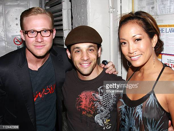 COVERAGE* 'Dancing with The Stars' Judge Carrie Ann Inaba Jason Patrick Sands and Jeffrey Schecter pose backstage at 'A Chorus Line' on Broadway at...