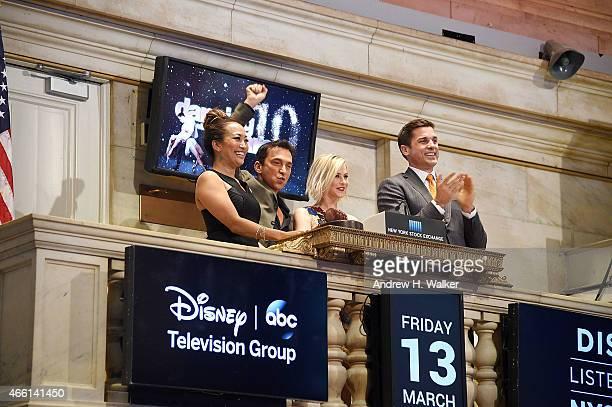 """Dancing With The Stars"""" judges Carrie Ann Inaba, Bruno Tonioli and Julianne Hough ring the NYSE closing bell at New York Stock Exchange on March 13,..."""