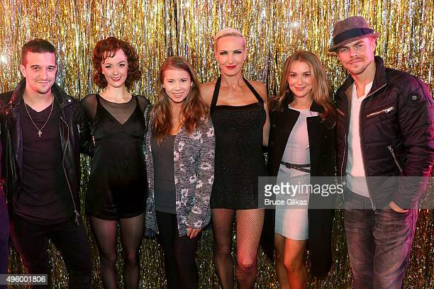"""Dancing with the Stars"""" Mark Ballas, Bindi Irwin, Alexa PenaVega and Derek Hough pose with Charlotte Kate Fox as """"Roxie Hart"""" and Amra-Faye Wright as..."""