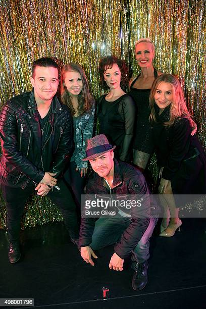 """Dancing with the Stars"""" Mark Ballas, Bindi Irwin, Derek Hough and Alexa PenaVega pose with Charlotte Kate Fox as """"Roxie Hart"""" and Amra-Faye Wright as..."""