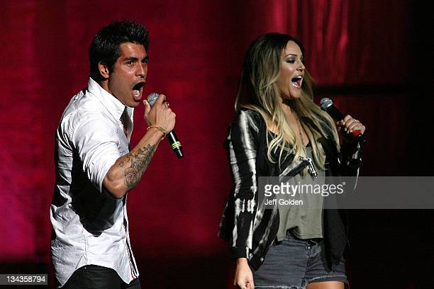 'Dancing with the Stars'' Mike Catherwood and Lacey Schwimmer perform at Kevin And Bean's 2011 April Foolishness at Gibson Amphitheatre on April 2...