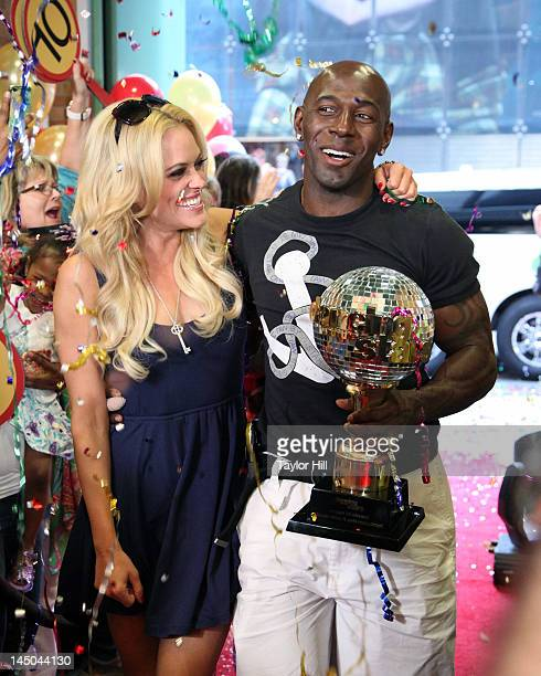Dancing With The Stars winners Peta Murgatroyd and Donald Driver arrive at ABC's Good Morning America in Times Square on May 23 2012 in New York City