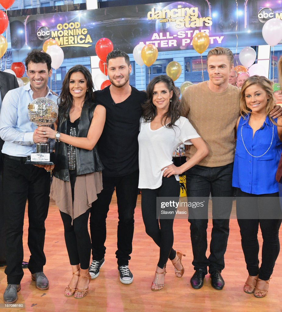 'Dancing With The Stars' winners Tony Dovolani, Melissa Rycroft, finalists Valentin Chmerkovskiy, Kelly Monaco, Derek Hough, and Shawn Johnson attend ABC's Good Morning America at ABC News' Good Morning America Times Square Studio on November 28, 2012 in New York City.