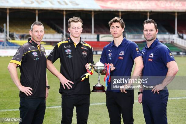 The TAC Cup is seen during a TAC Cup Grand Final press conference at IKON Park at Ikon Park on September 18 2018 in Melbourne Australia