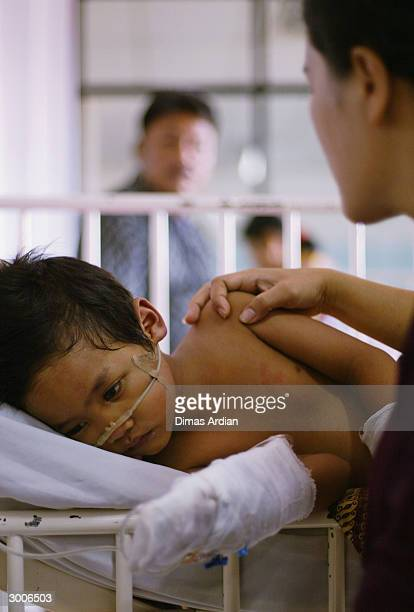 Dandi a young Indonesian boy suffering from dengue fever is watched over by his mother Nita as he lies in a hospital bed February 23 2004 in Jakarta...