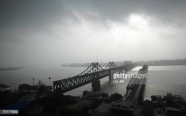Photo taken from the Chinese border city of Dandong shows a general view of the ChinaNorth Korea Friendship Bridge which links China and North Korea...
