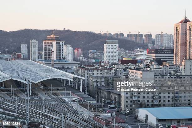 dandong city overview - dandong stock pictures, royalty-free photos & images