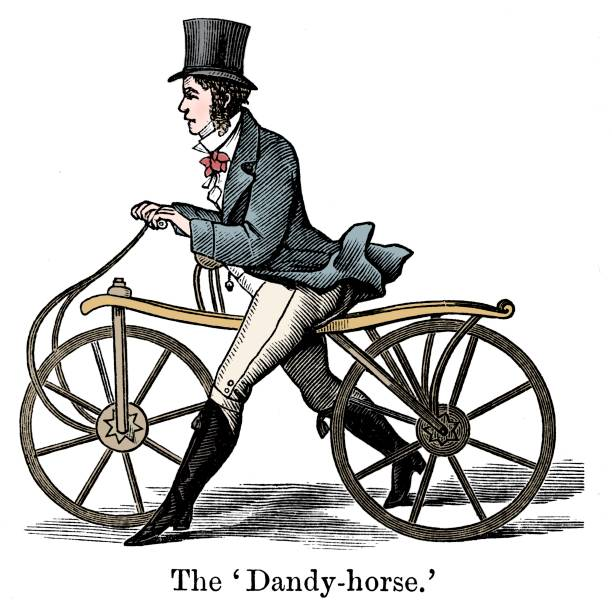 Dandy-Horse or Draisienne of the type fashionable c1820. . Artist Unknown.