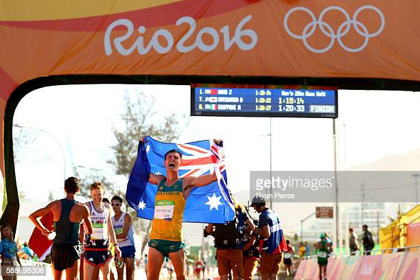 Dane Bird-Smith of Australia celebrates winning bronze in the Men's 20km Race Walk on Day 7 of the Rio 2016 Olympic Games at Pontal on August 12,...