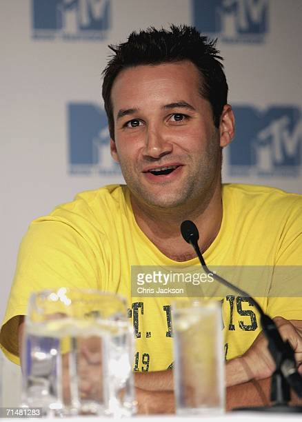 Dane Bowers, member of the New MTV program 'Totally Boyband', talks at an MTV press conference to introduce the new band, July 19 in London, England....