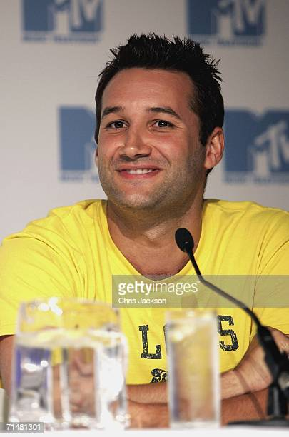 Dane Bowers, member of the New MTV program 'Totally Boyband', talks at an MTV press conference to introduce the new band, July 19, 2006 in London,...