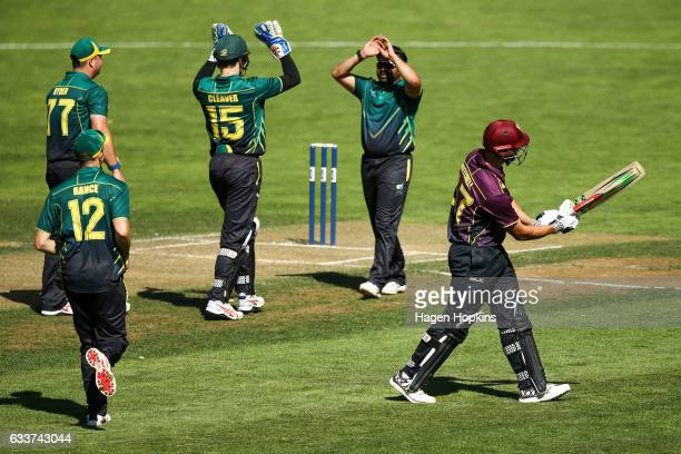 Dane Cleaver and Ajaz Patel of Central Districts celebrate the wicket of Daryl Mitchell of Northern Districts during the Ford Trophy match between...