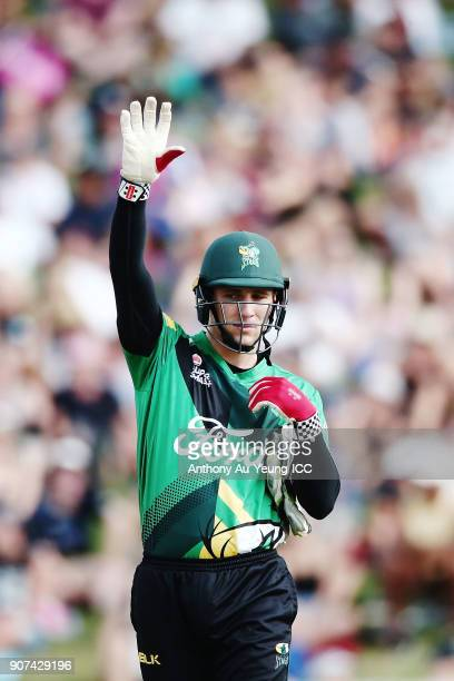 Dane Cleaver of the Stags signals during the Super Smash Grand Final match between the Knights and the Stags at Seddon Park on January 20 2018 in...