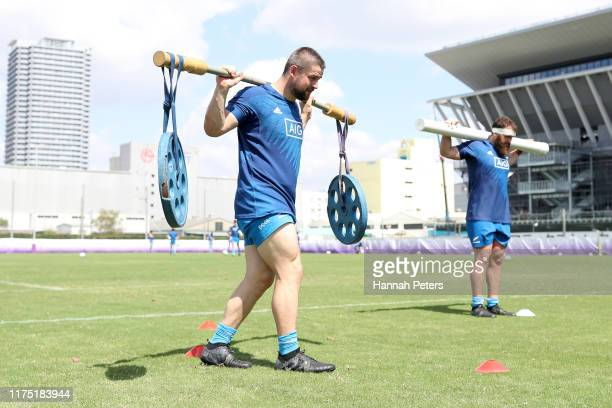 Dane Coles and Liam Coltman of the All Blacks run through drills during a New Zealand All Blacks Rugby World Cup Training Session at Tatsuminomori...