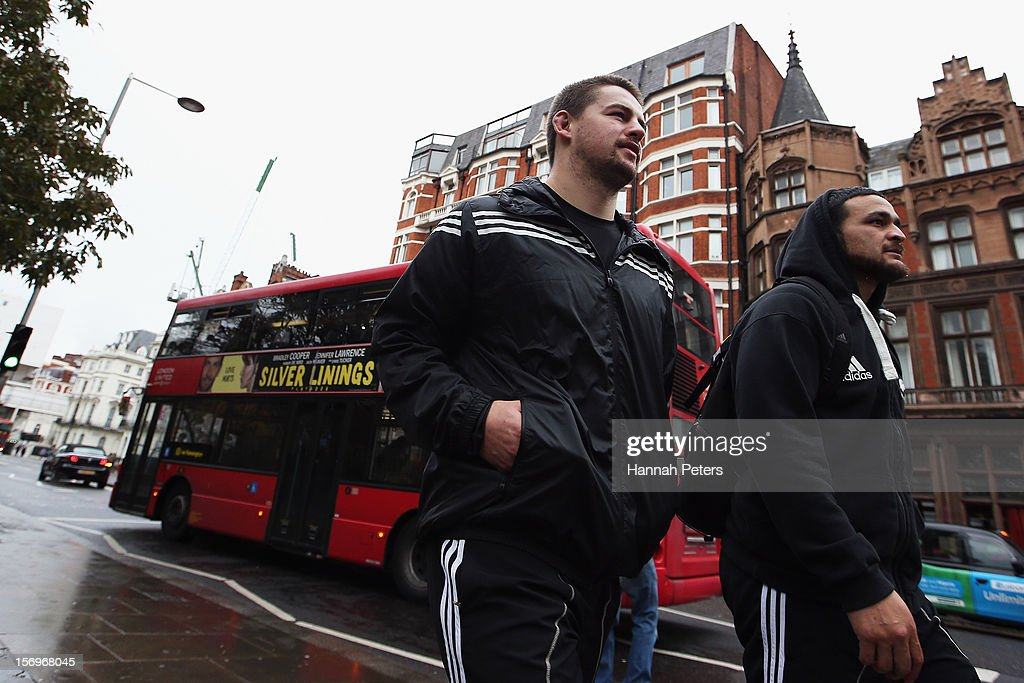 Dane Coles and Piri Weepu of the All Blacks return from a recovery session at the Imperial College on November 26, 2012 in London, England.
