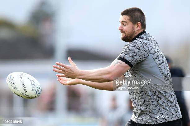 Dane Coles in action during a New Zealand All Blacks training session at Hutt Recreation Ground on September 11 2018 in Lower Hutt New Zealand