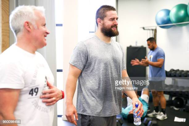 Dane Coles looks on during a New Zealand All Blacks gym session at ASB Sports Centre on April 23 2018 in Wellington New Zealand