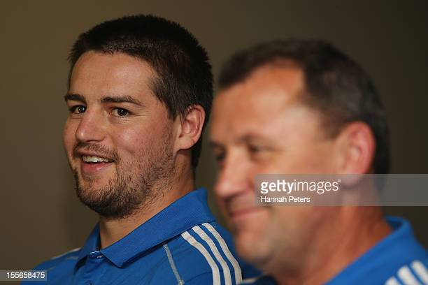 Dane Coles of the All Blacks answers questions from the media during a press conference at the Radisson Blu hotel on November 6, 2012 in Edinburgh,...