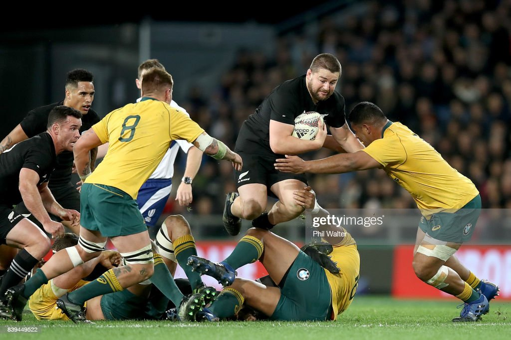 Dane Coles of the All Blacks is tackled during The Rugby Championship Bledisloe Cup match between the New Zealand All Blacks and the Australia Wallabies at Forsyth Barr Stadium on August 26, 2017 in Dunedin, New Zealand.