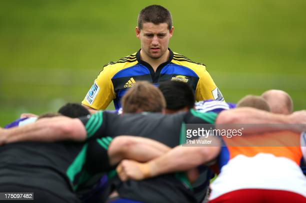 Dane Coles of the All Blacks looks on during a New Zealand All Blacks training session at North Harbour Stadium on August 1 2013 in Auckland New...