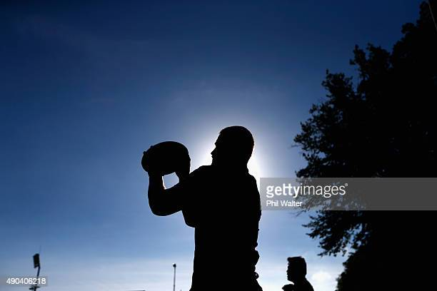 Dane Coles of the All Blacks prepares to throw the ball into the lineout during a New Zealand All Blacks training session at Sophia Gardens on...