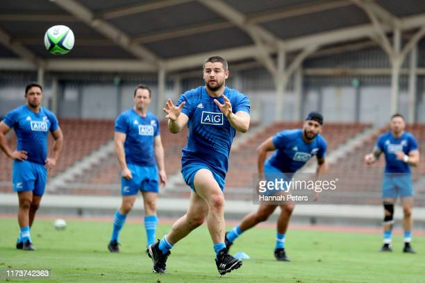 Dane Coles of the All Blacks runs through drills during a New Zealand training session at Kashiwa no Ha Park Stadium on September 11, 2019 in...