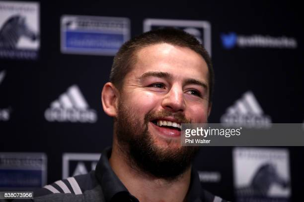 Dane Coles of the All Blacks speaks to media during a media session at the Southern Cross motel before the New Zealand All Blacks training session at...