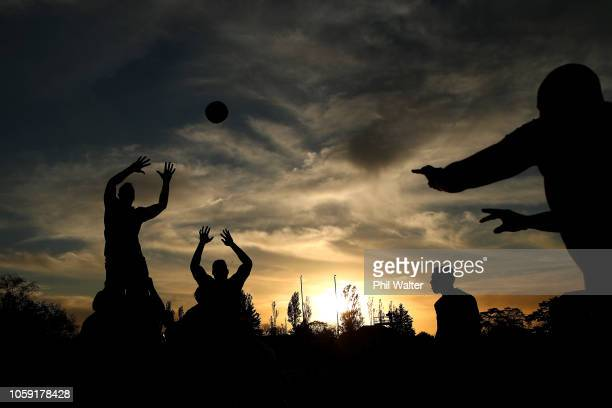 Dane Coles of the All Blacks throws the ball into the lineout during a New Zealand All Blacks Training Session at The Lensbury on November 8, 2018 in...