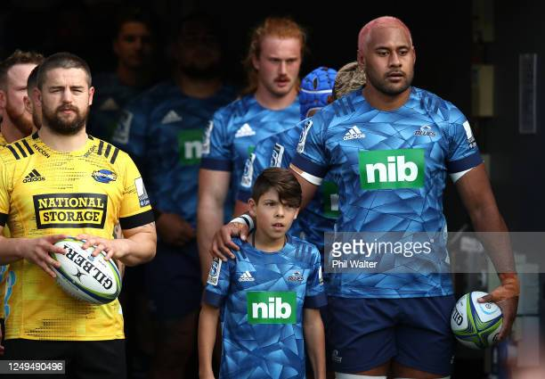 Dane Coles of the Hurricanes and Patrick Tuipulotu of the Blues during the round 1 Super Rugby Aotearoa match between the Blues and the Hurricanes at...