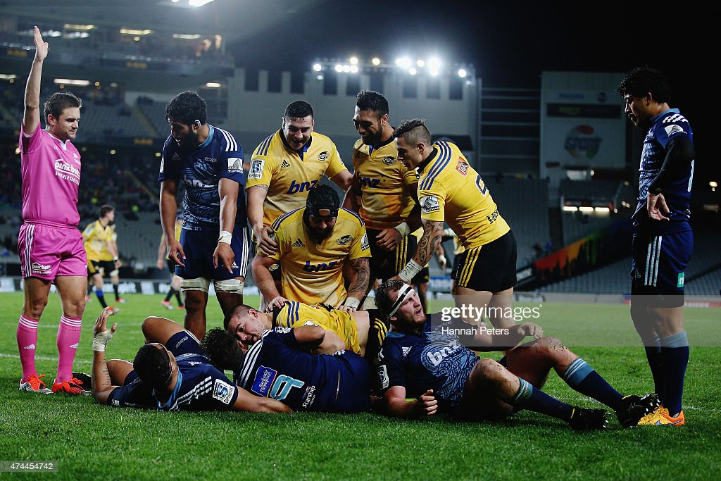 Dane Coles of the Hurricanes celebrates after scoring a try during the round 15 Super Rugby match between the Blues and the Hurricanes at Eden Park on May 23, 2015 in Auckland, New Zealand.