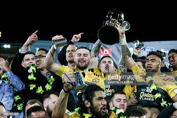 Dane Coles of the Hurricanes celebrates the team's victory after the Super Rugby final match between the Wellington Hurricanes and Lions of South...
