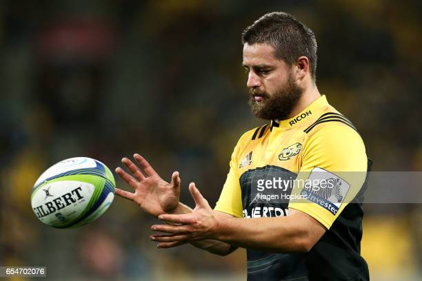 Dane Coles of the Hurricanes prepares for a lineout throw during the round four Super Rugby match between the Hurricanes and the Highlanders at...