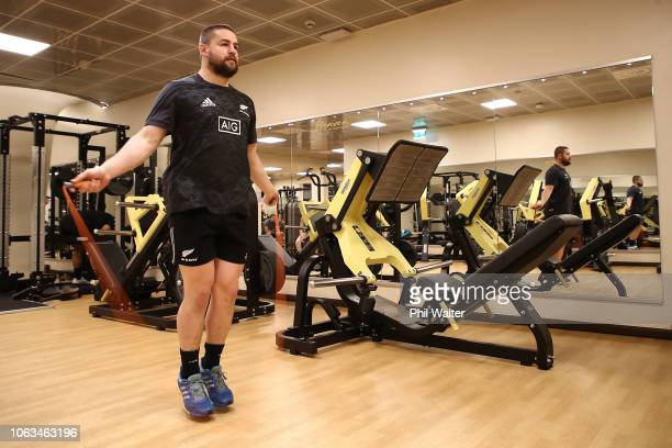 Dane Coles of the New Zealand All Blacks skips during a gym session on November 19, 2018 in Rome,Italy .
