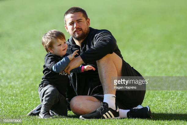 Dane Coles plays with son Reef during a New Zealand All Blacks Captain's Run at Westpac Stadium on September 14 2018 in Wellington New Zealand